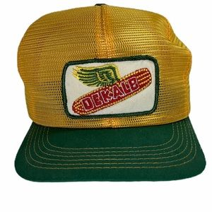 Vintage Delalb cap patch mesh hat farmer USA